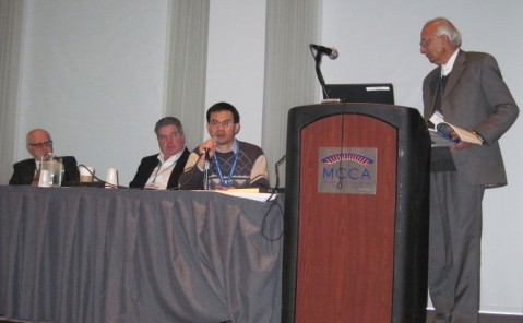 "Speaker Henry Lin answers audience question about his ""Blue Water"" presentation. (L-R: Bob Stewart, Steel Maloney, Henry Lin, Rattan Lal)."
